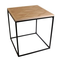 TABLE CARREE BOIS ET METAL DIAM 48X48X50 CM M1