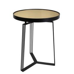 TABLE D APPOINT METAL VELOURS MOTIF JAUNE 45CM M1