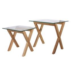 TABLES GIGOGNES VERRE TREMPE PLATEAU CARRE X2 M1