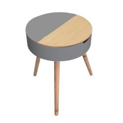 TABLE COFFRE GRIS BOIS M1