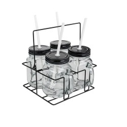 MASON JAR X4 ETHNIQUEAVEC SUPPORT RACK METAL M6