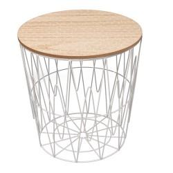 TABLE FILAIRE PLATEAU BOIS MOTIF NID D'ABEILLE M6