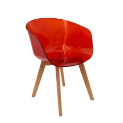 FAUTEUIL GLOSSY TRANSPARENT ROUGE M2