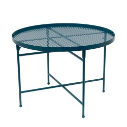 TABLE METAL PERFORE DIA50CM H35CM BLEU M1
