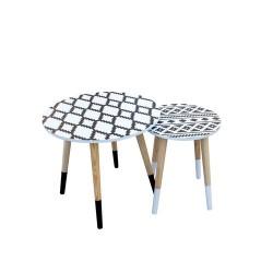 TABLES GIGOGNES ETHNIQUE PLATEAU ROND X2 M1