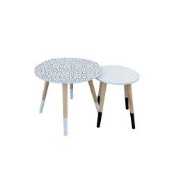 TABLES GIGOGNES FLEUR POIS PLATEAU ROND X2 M1