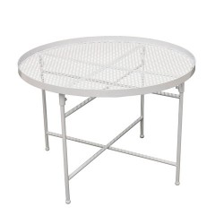 TABLE METAL PERFORE DIA50CM H35CM BLANC M1