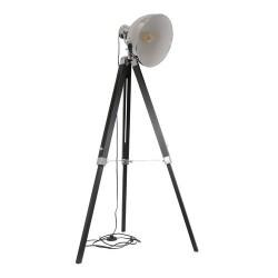 LAMPADAIRE INDUSTRIEL CHROME TREPIED NOIR M2