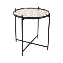 TABLE METAL NOIR AVEC MIROIR A MOTIF M1