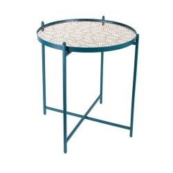 TABLE METAL BLEU AVEC MIROIR A MOTIF M1
