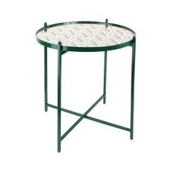 TABLE METAL VERT AVEC MIROIR A MOTIF M1