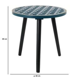 TABLE D APPOINT BOIS A MOTIF BLEU LISERET DORE M1