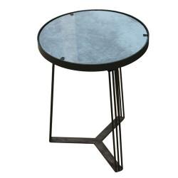 TABLE D APPOINT METAL VELOURS MOTIF BLEU 45CM M1
