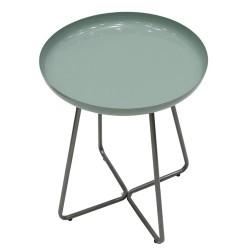 TABLE D APPOINT PLATEAU ROND GLOSSY VERT D EAU M1